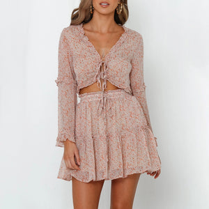 Floral V-Neck Lace Long Sleeve Ruffled Top Half Skirt Suit