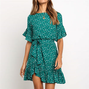 Summer Chiffon Print Crew Neck High Waist Lace-Up Dress