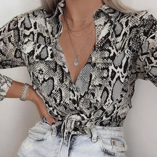 Fashion Lapel Leopard Printed Strappy Shirt