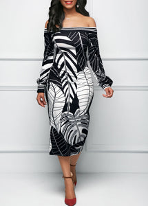 Sexy Off Shoulder Printed Slim Bodycon Dress