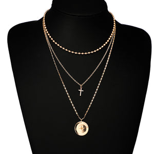 Fashion Alloy Clavicle Chain Simple Cross 3 Layer Sweater Chain