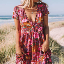 Sweet V Collar Floral Printed Loose Vacation Dress