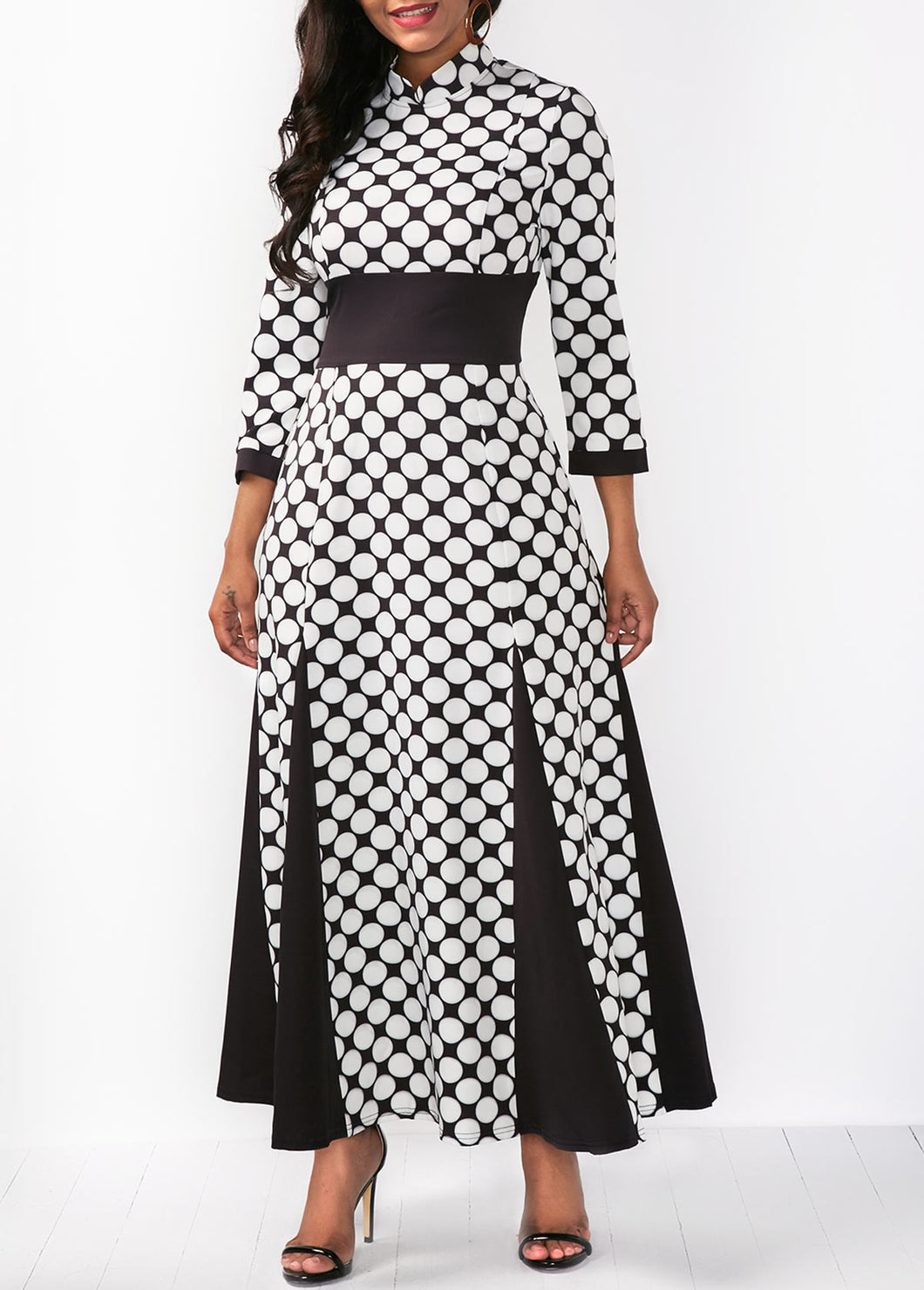 Fashion Lapel Check Printed Belted Evening Dress
