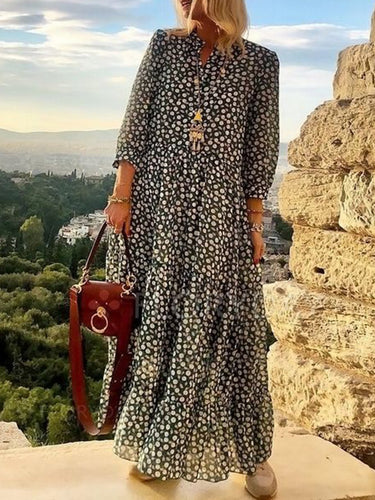 Floral Printed Color Block 3/4 Sleeves Maxi Shift Dress