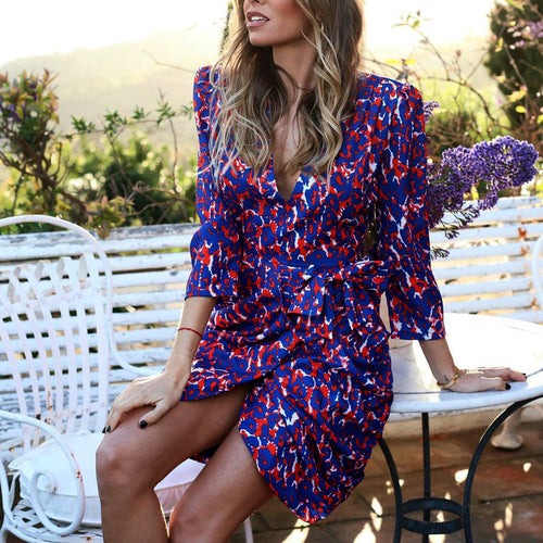 V-Neck Loose Versatile Floral Mini Dress