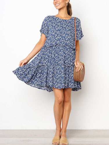 Fashion Round Neck Short Sleeve Floral Stitching Loose Dress