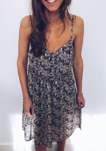 Sexy V-Neck Sling Printed Sleeveless Backless Dress