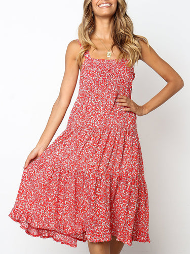Fashion Sling Backless Floral Stitching Loose Dress