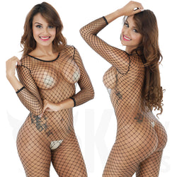 An Alluring Long Sleeved Fishnet Body Stocking
