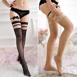 Deluxe Detailed Harness Style Banded Mesh Stockings