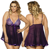Sheer Lace With A Touch Of Sparkle Babydoll - Plus Sizes - FREE G-String