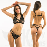 Stunning Strappy Lace Bralette & Thong Lingerie Set