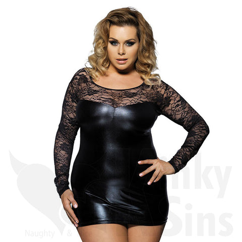 Stunning Black Lace & Wet Look Sleeved Mini Dress