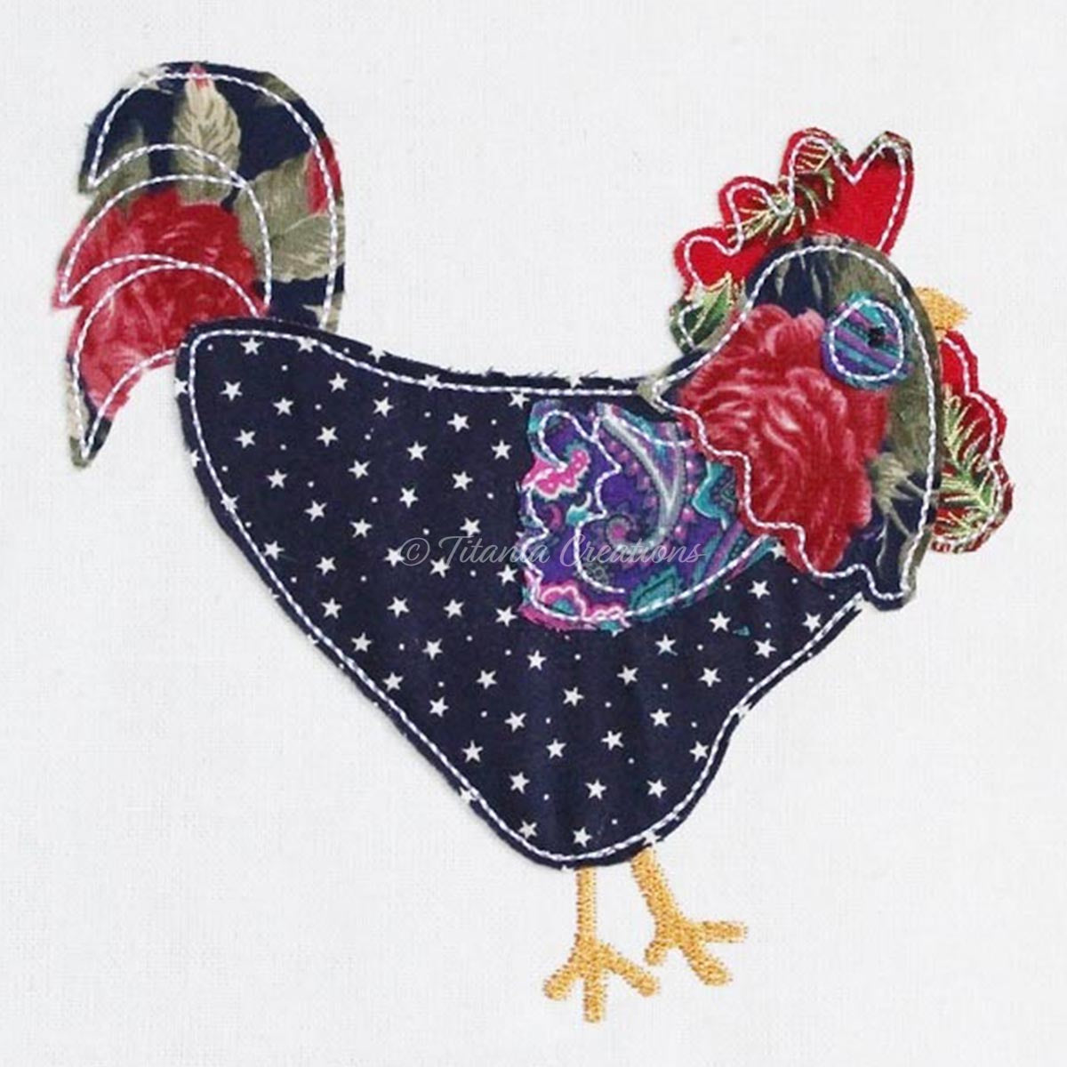 Raw Edge Appliqué Rooster 4x4, 5x7, 6x10
