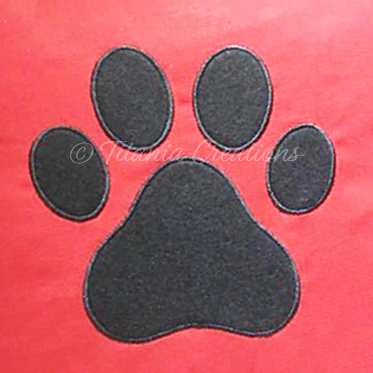 Applique Dog Paw Print 4x4 5x5 6x6 7x7 8x8