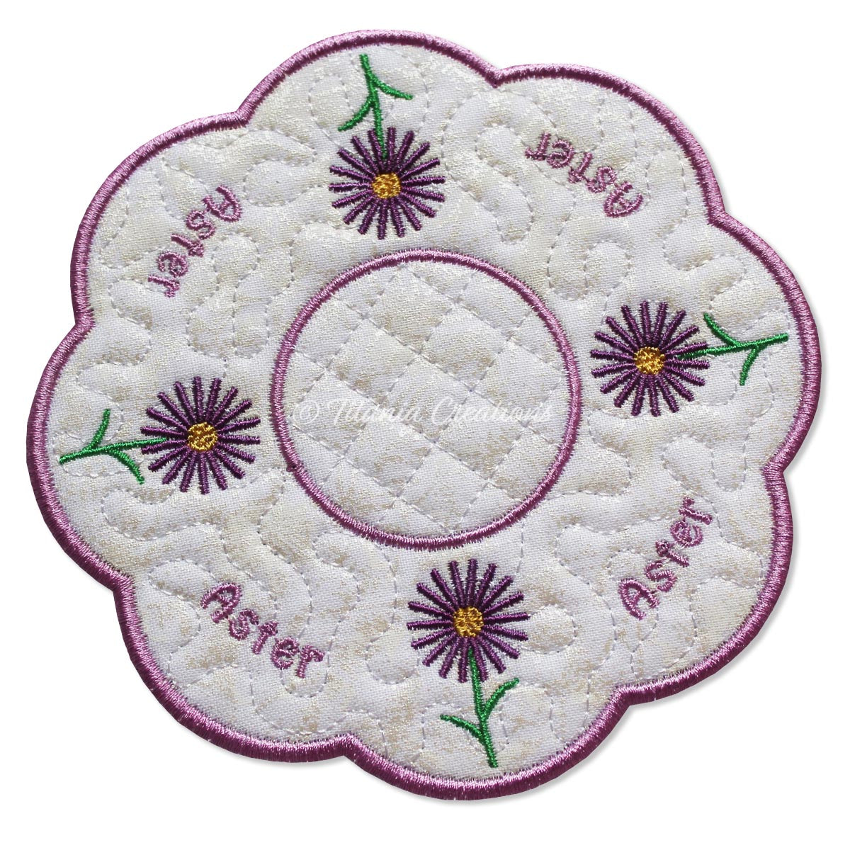 ITH Aster Flower for September Candle Mat 5x5 6x6 7x7 8x8