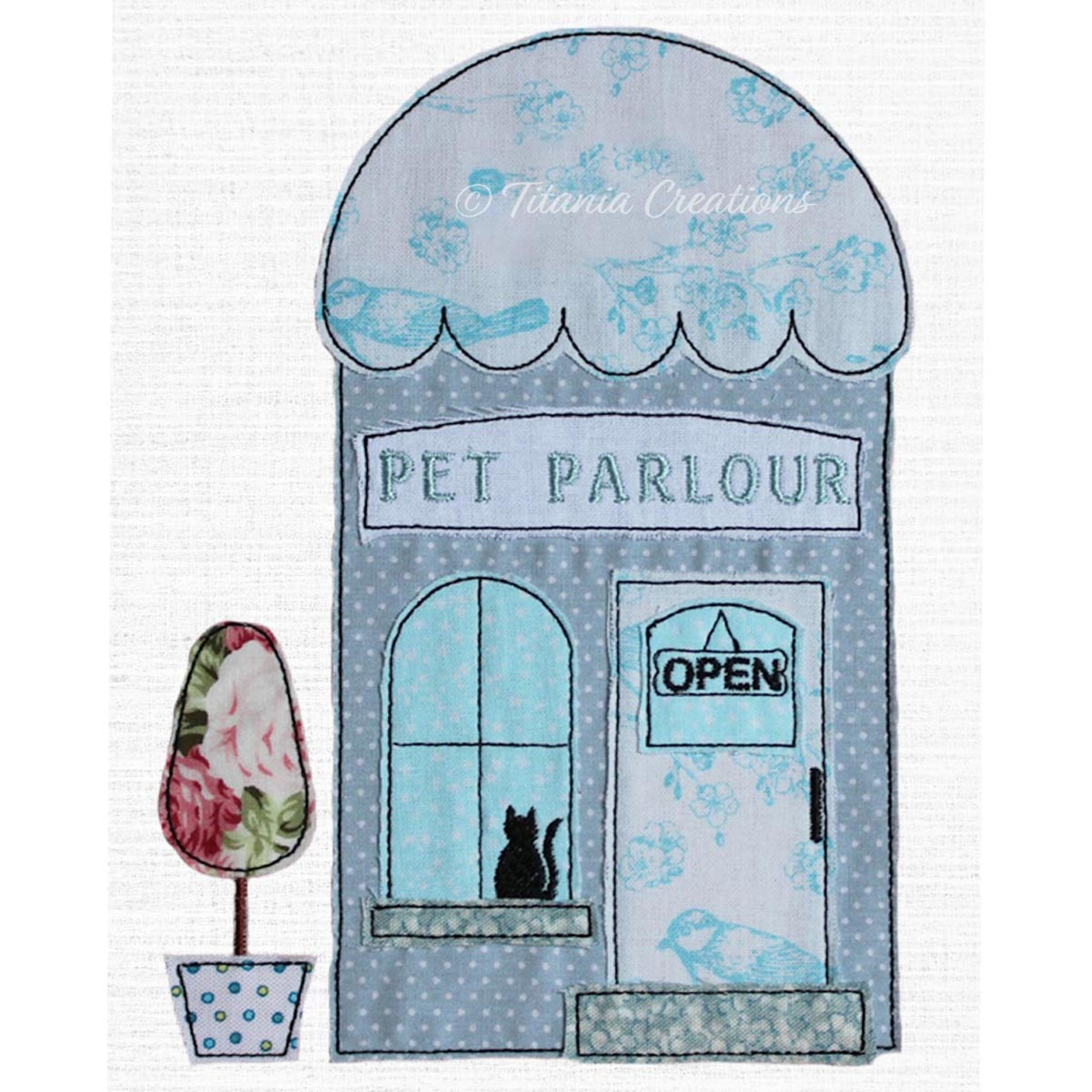 Raw Edge Applique Pet Parlour with CAT 5x7 6x10 8x12