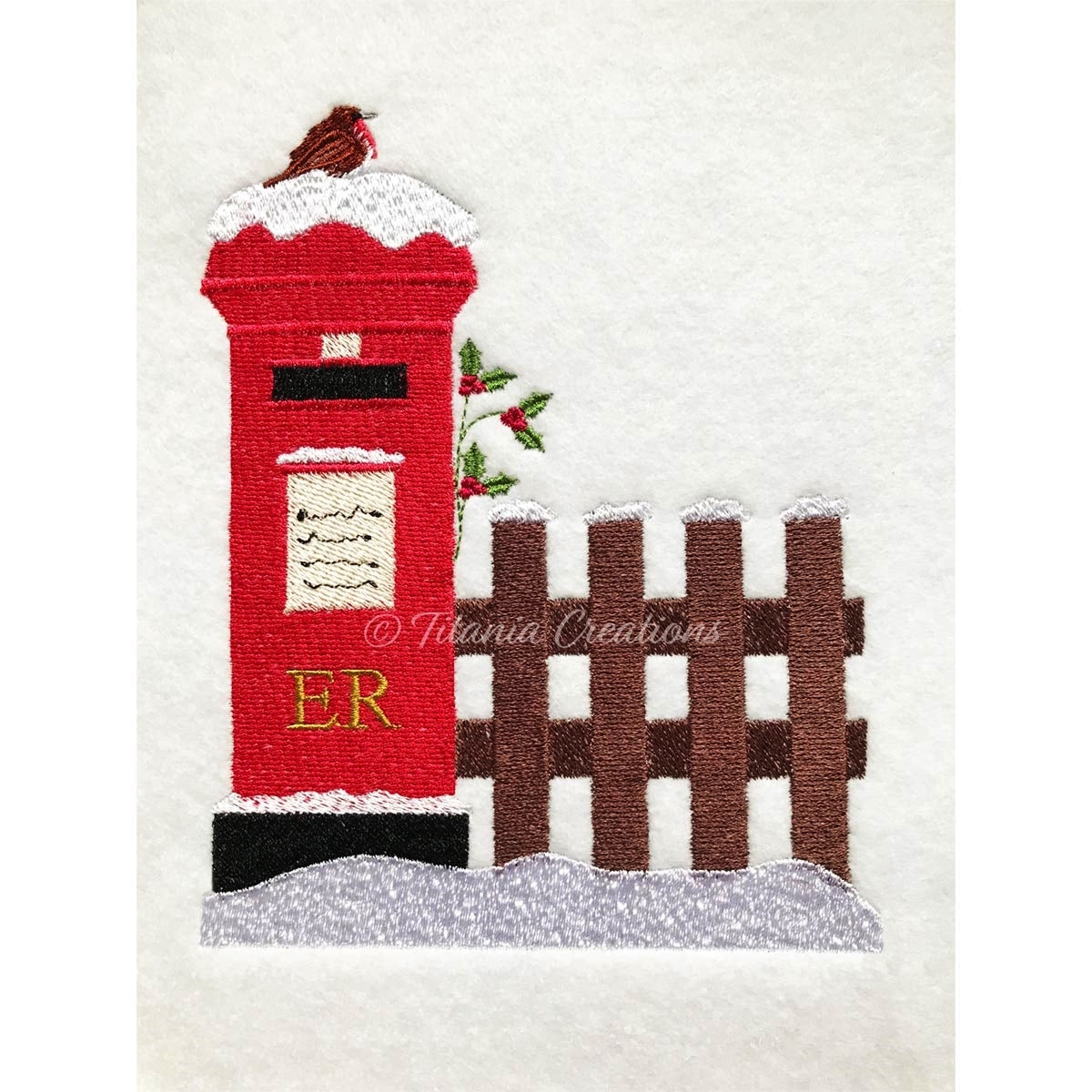 Christmas Post Box Scene 5x7