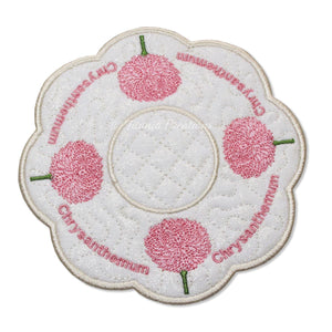 ITH Chrysanthemum Flower for November Candle Mat 5x5 6x6 7x7 8x8