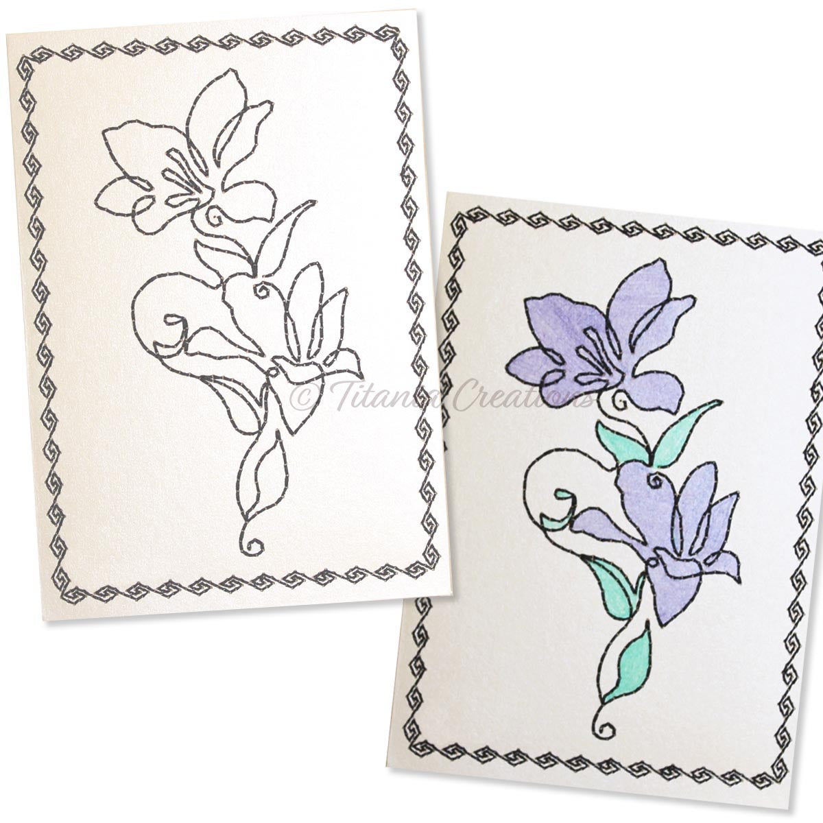 Simply Floral 01 Card Stock Design 5x7