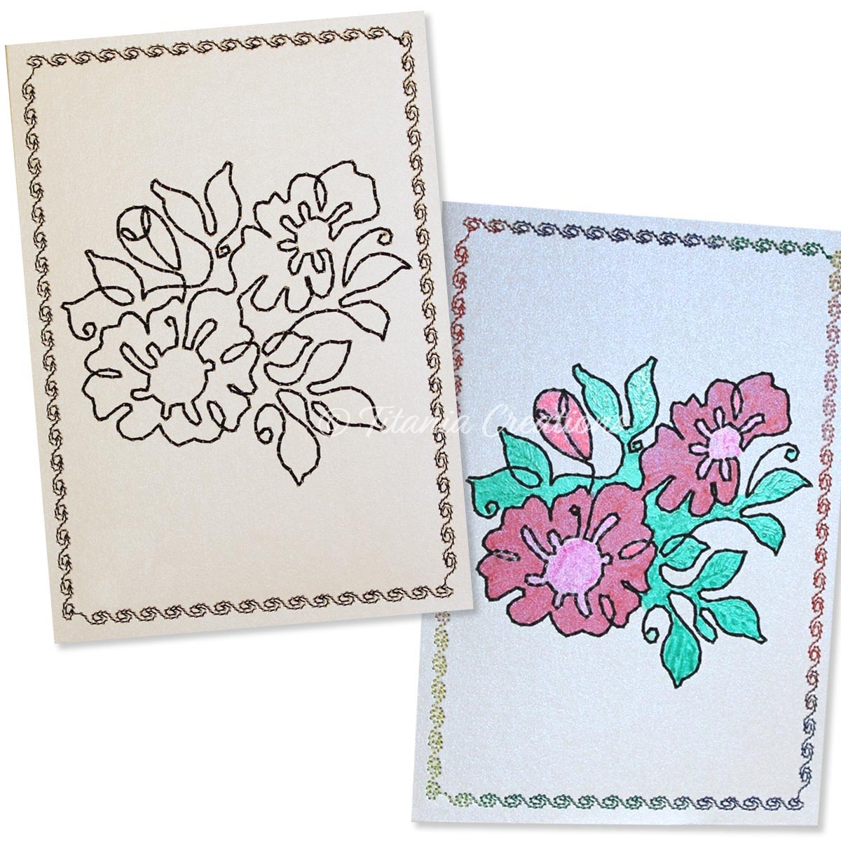 Simply Floral 02 Card Stock Design 5x7