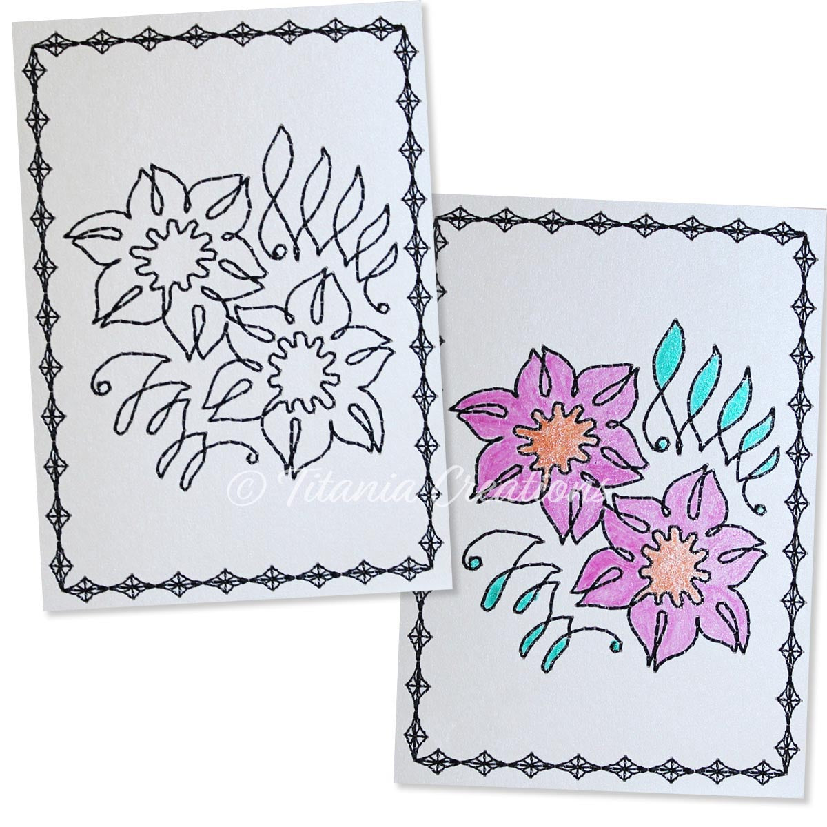Simply Floral 04 Card Stock Design 5x7