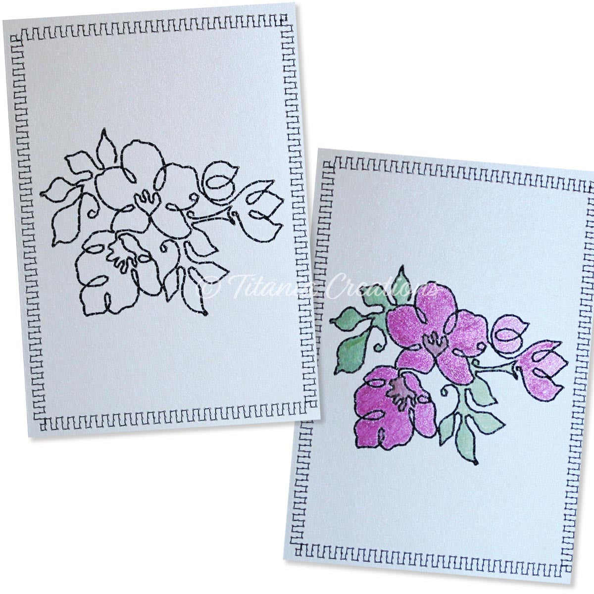 Simply Floral 07 Card Stock Design 5x7