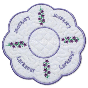 ITH Larkspur Flower for July Candle Mat 5x5 6x6 7x7 8x8