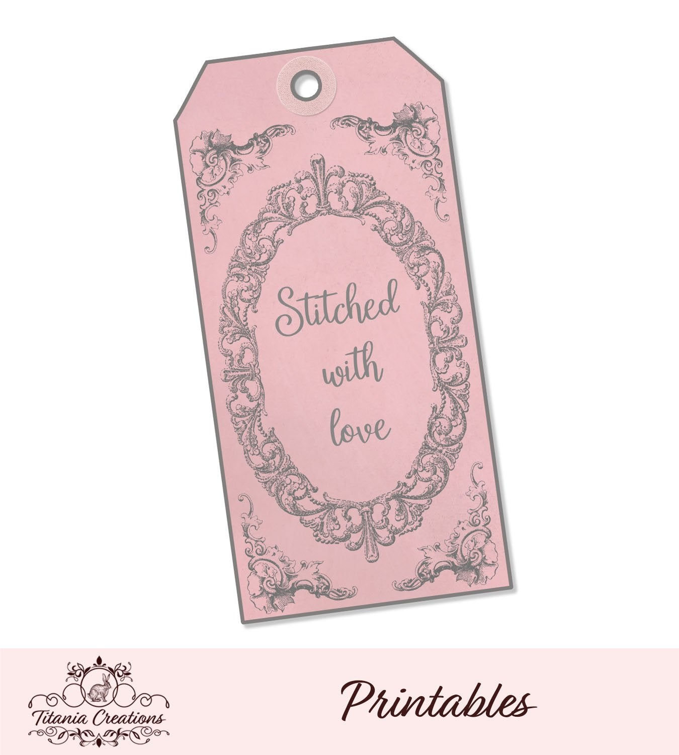 Printable Stitched With Love Tag P Free