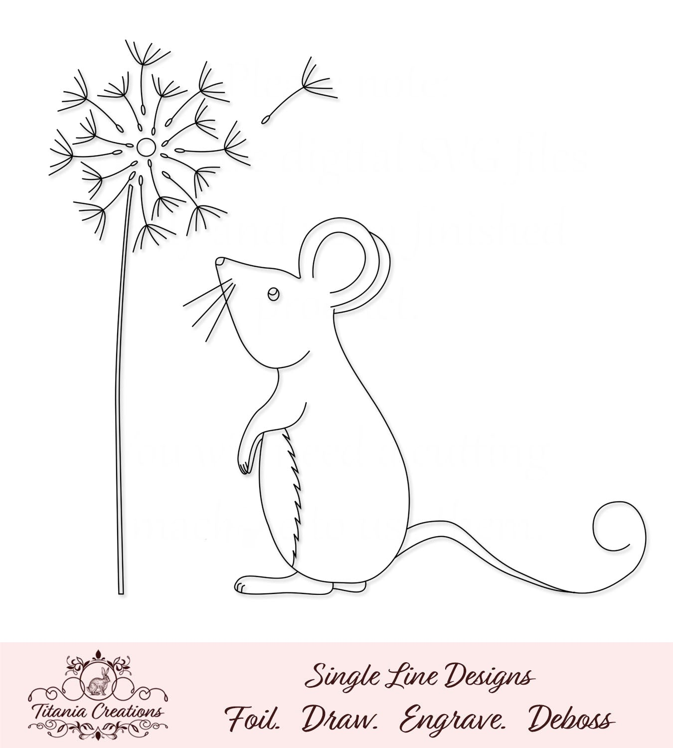 Single Line Mouse With Dandelion Foil Quill SVG
