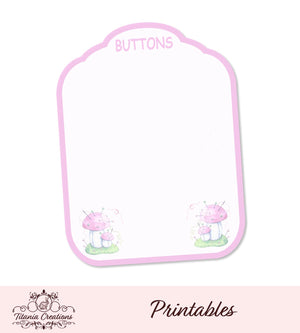 Printable Mushroom Button Card