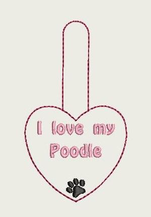 I Love My Poodle Key Fob 4X4 Db Fobs