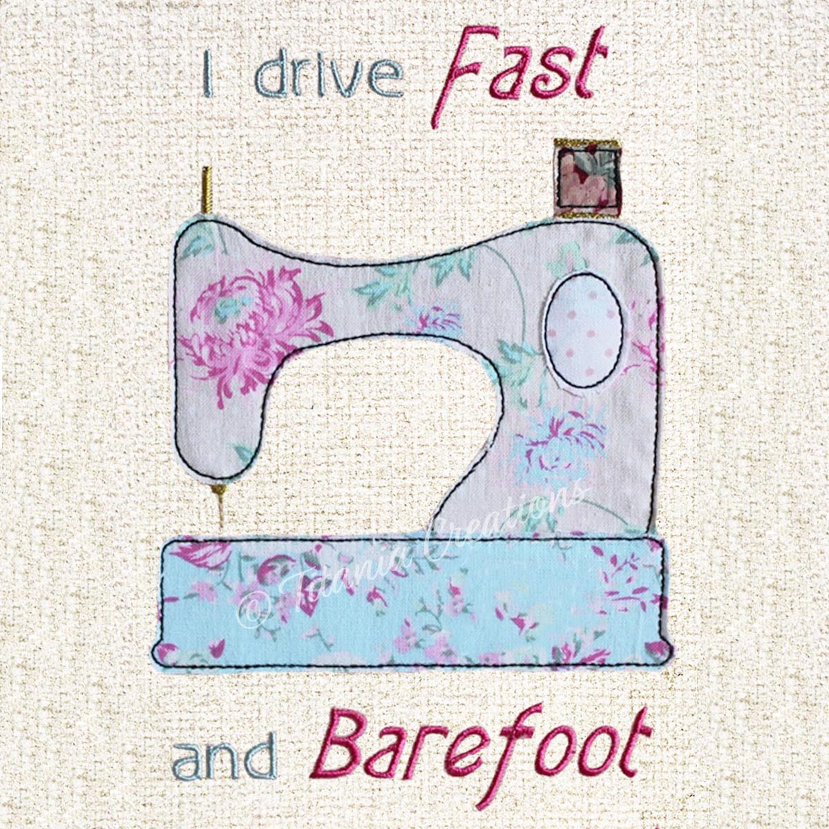 Raw Edge Applique Fast and Barefoot 5x7