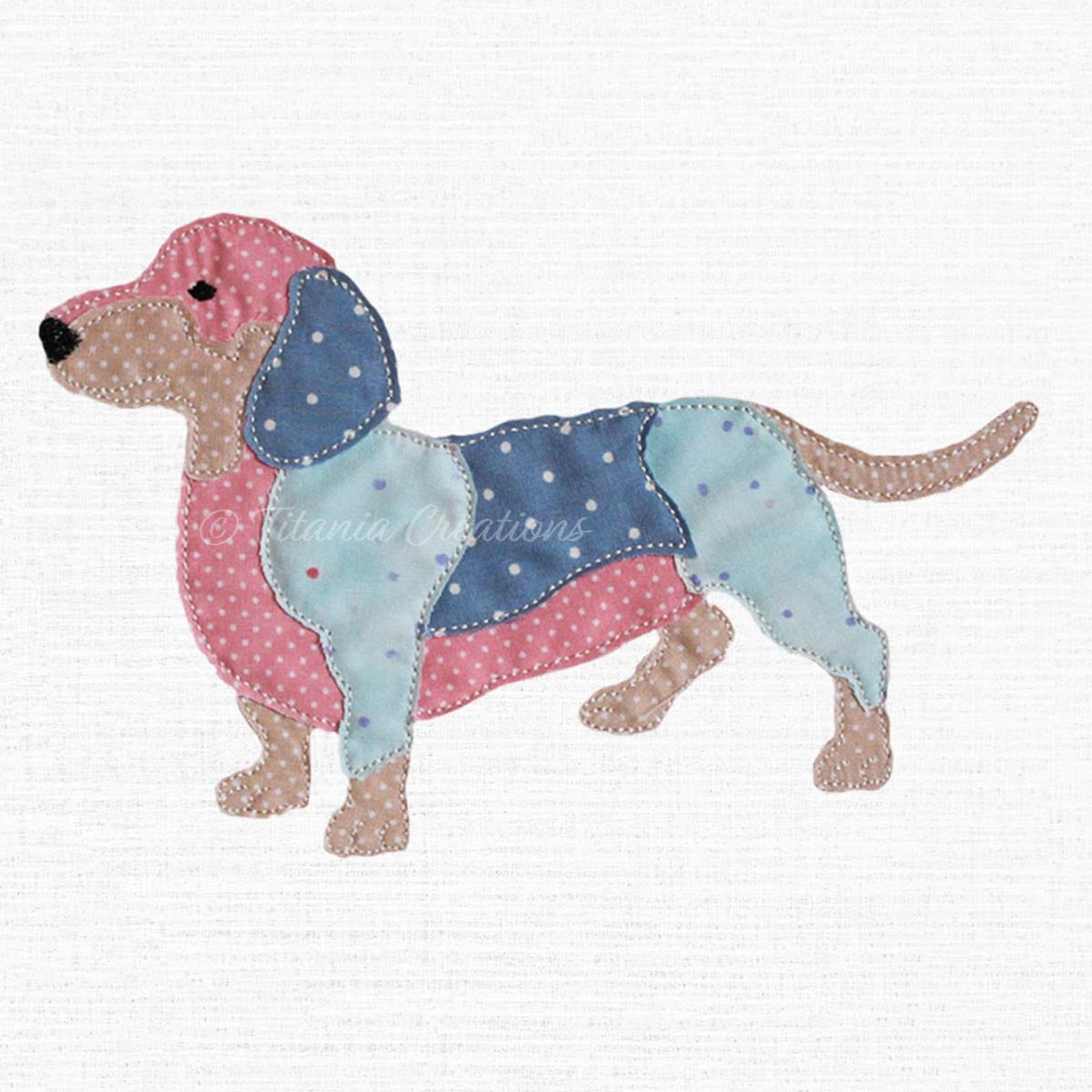 Raw Edge Applique Dachshund 5x7 6x10 8x12