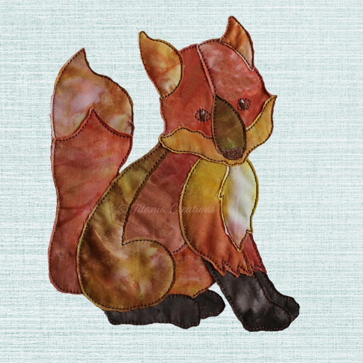 Raw Edge Applique Fox 5x7 6x10 8x12