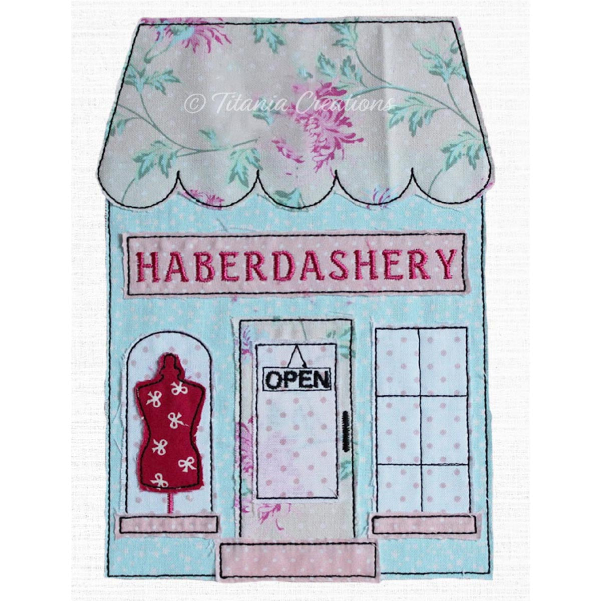 Raw Edge Applique Haberdashery Shop 5x7 6x10 8x12