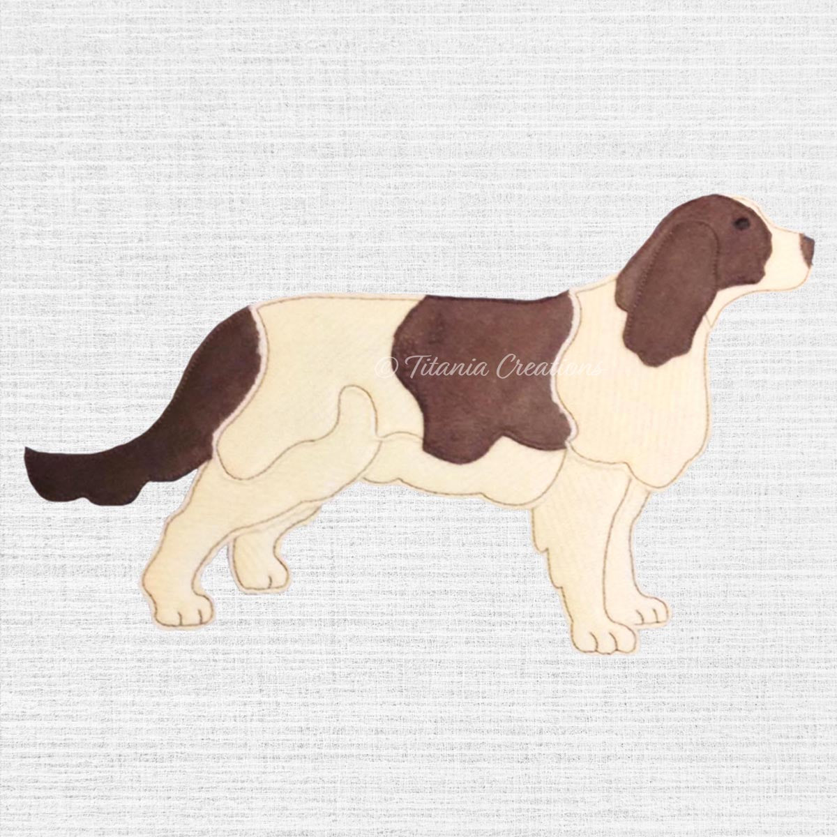 Raw Edge Applique Long Tail Spaniel 5x7 6x10 8x12