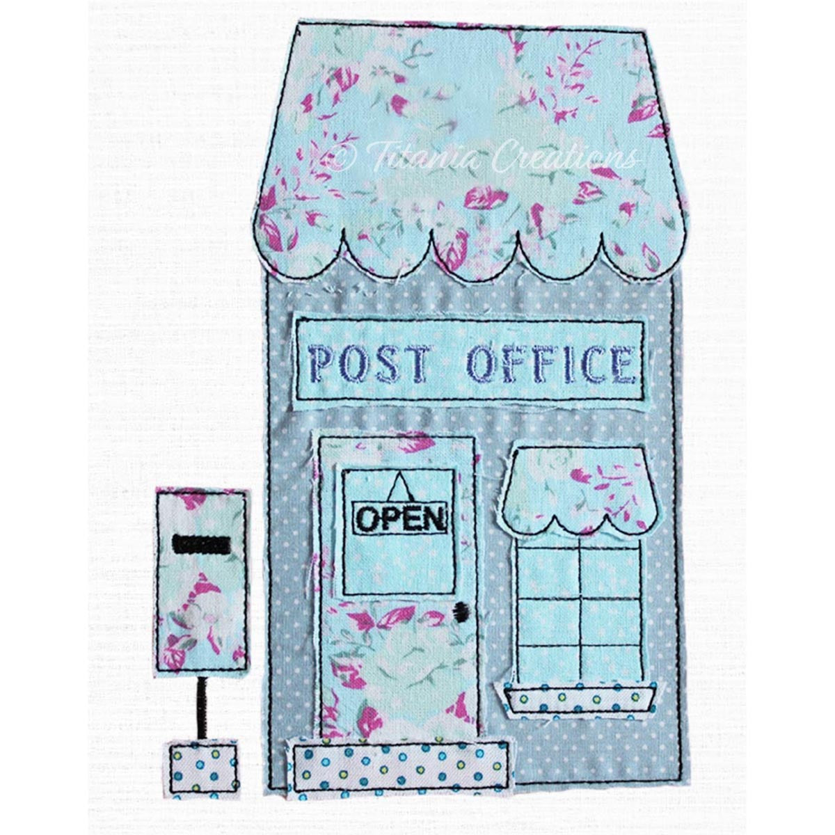 Raw Edge Applique Post Office 5x7 6x10 8x12