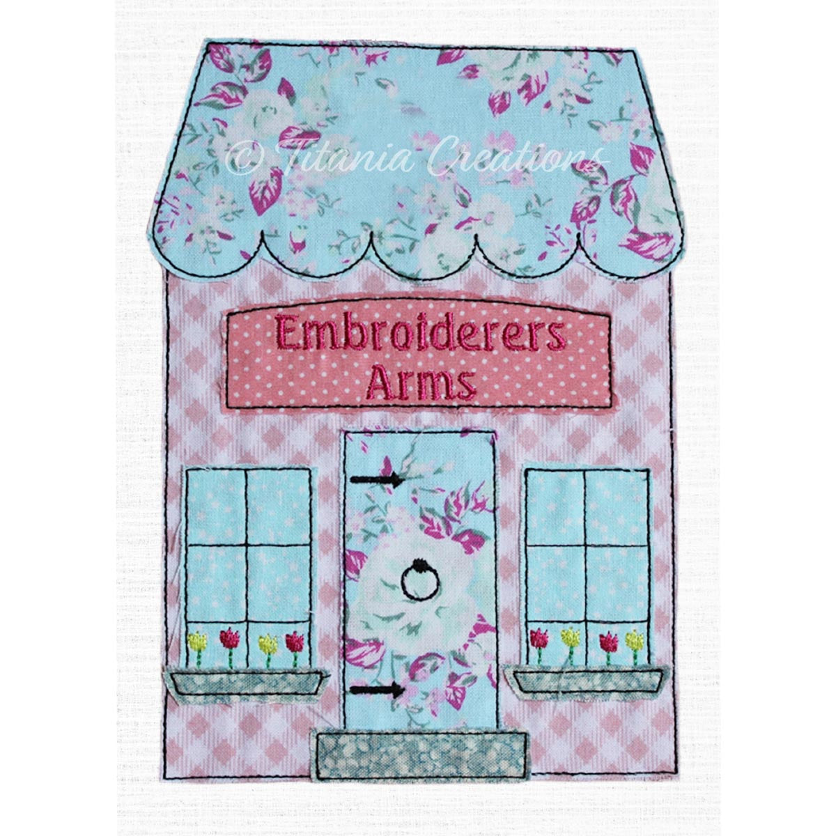Raw Edge Applique Embroiderers Arms Public House 5x7 6x10 8x12