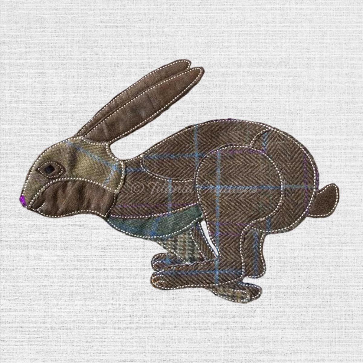 Raw Edge Applique Running Hare 5x7 6x10 8x12