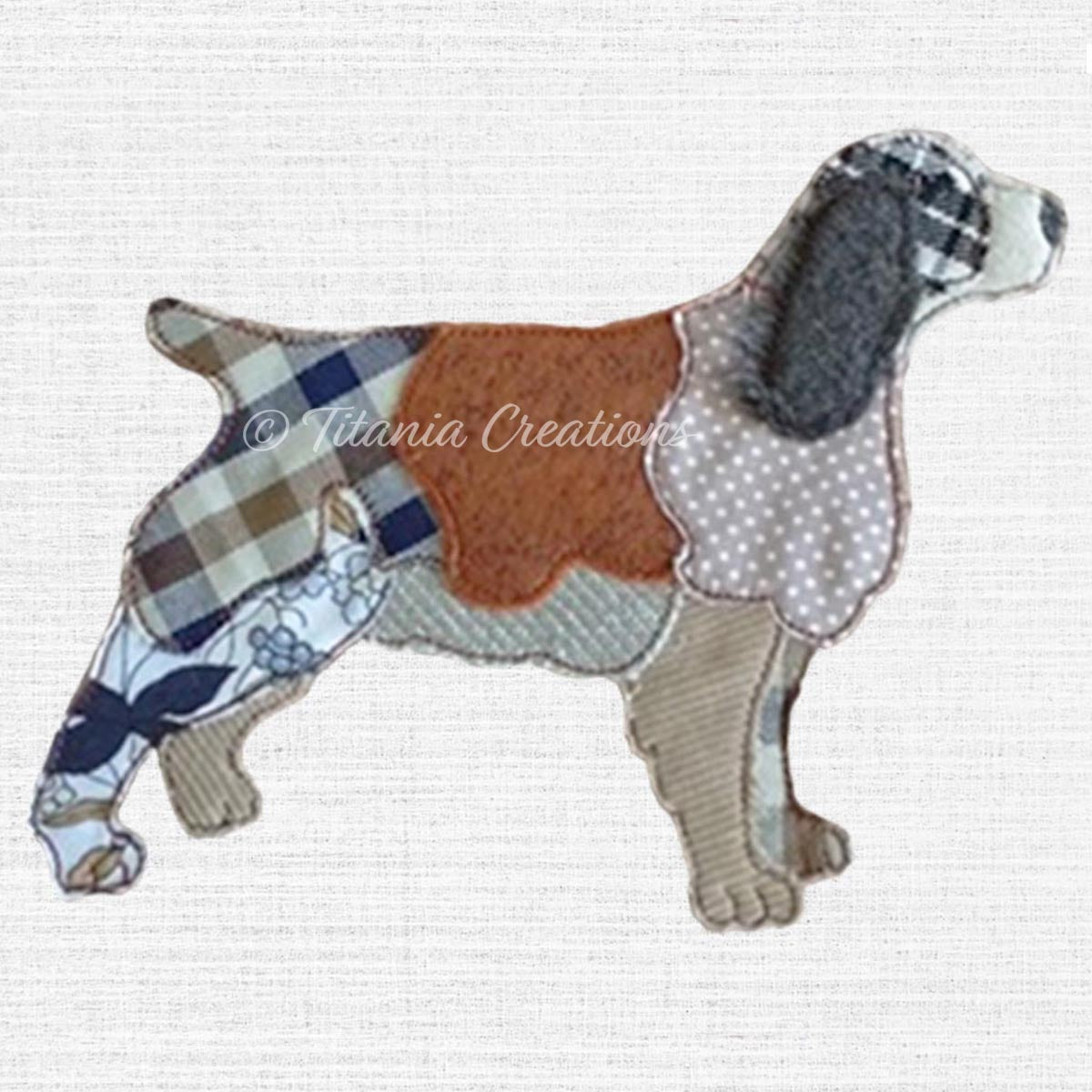 Raw Edge Applique Spaniel 5x7 6x10 8x12