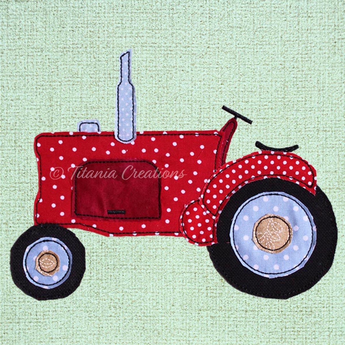 Raw Edge Applique Tractor 5x7 6x10 8x12