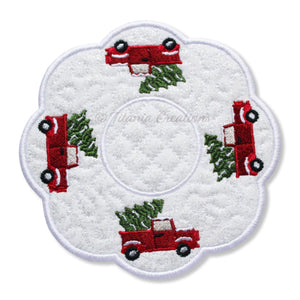 ITH Red Truck Candle Mat 5x5 6x6 7x7 8x8