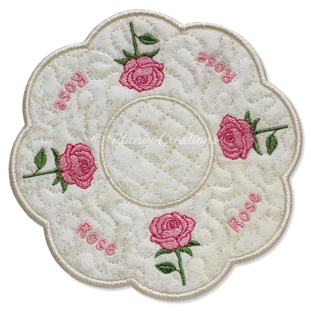 ITH Rose Flower for June Candle Mat 5x5 6x6 7x7 8x8