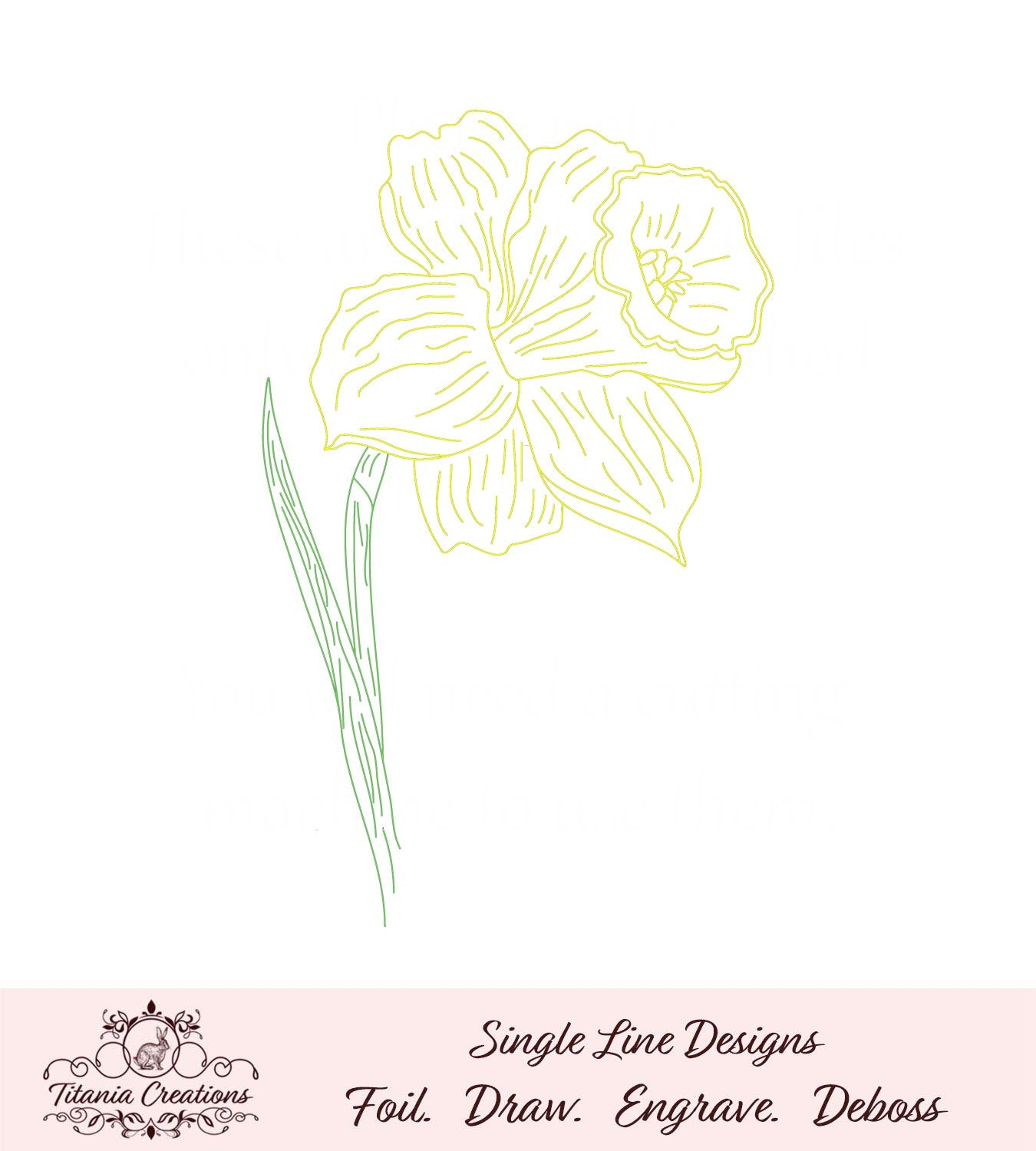 Single Line Sketch Daffodil Foil Quill SVG