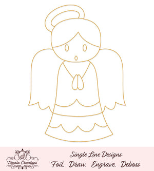 Single Line Angel Foil Quill Svg