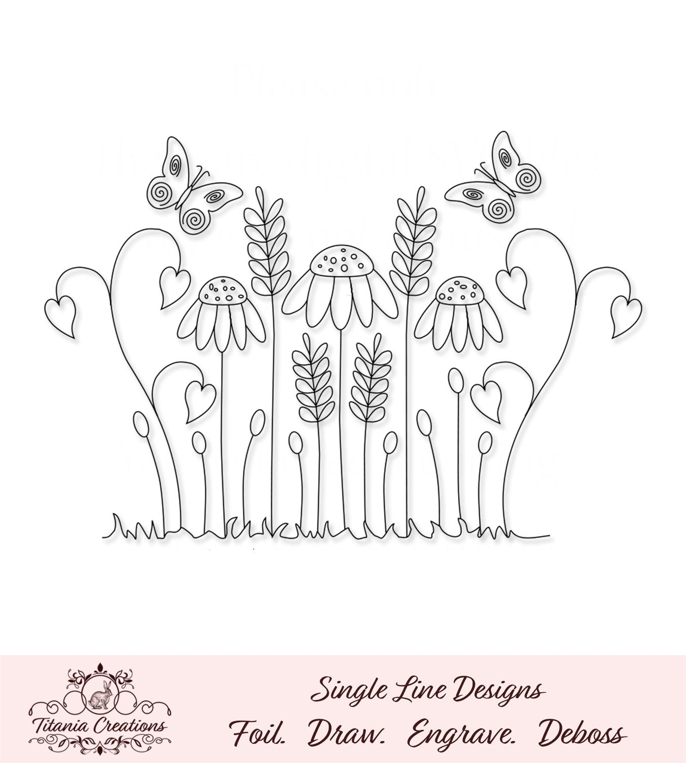 Single Line Butterflies and Flowers Foil Quill SVG