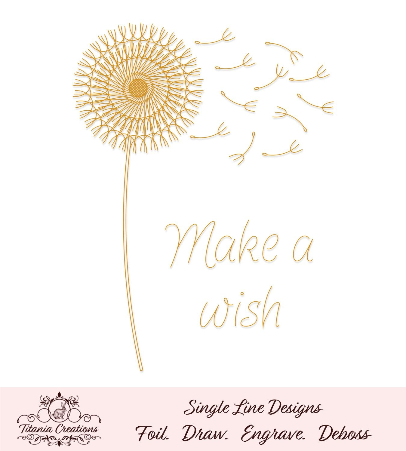 Single Line Make A Wish Dandelion Foil Quill Svg