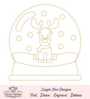Single Line Reindeer Snow Globe Foil Quill Svg