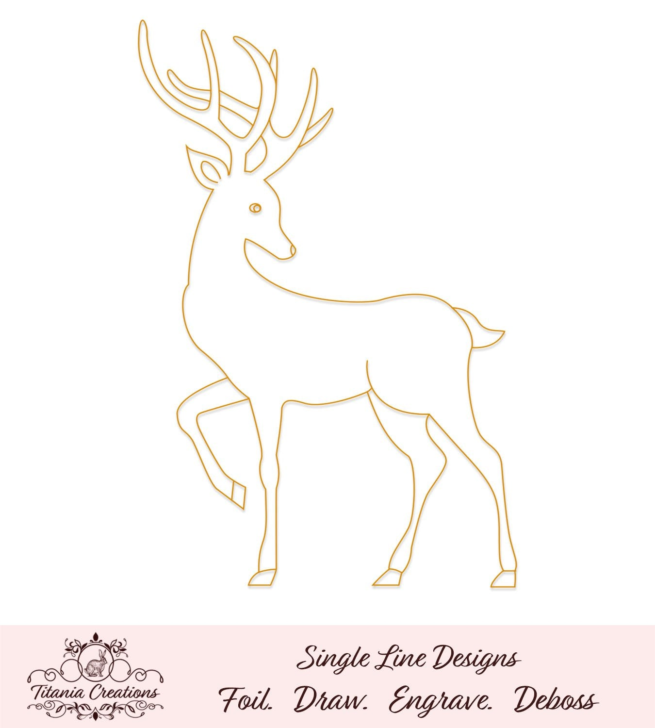 Single Line Reindeer Foil Quill Svg